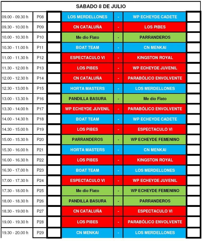 Calendario del Sábado 8- VII Torneo Internacional de WaterPolo Playa Isla de Tenerife