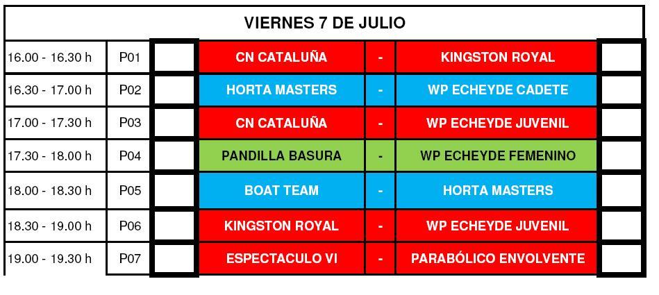Calendario del Viernes 7 - VII Torneo Internacional de WaterPolo Playa Isla de Tenerife